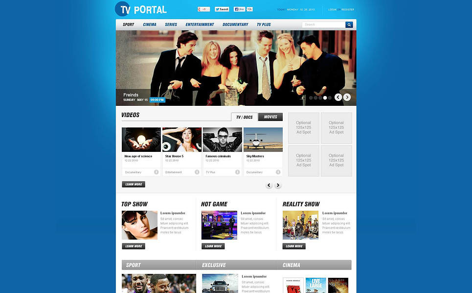 Szablon Flash CMS #47130 na temat: kanał telewizyjny New Screenshots BIG