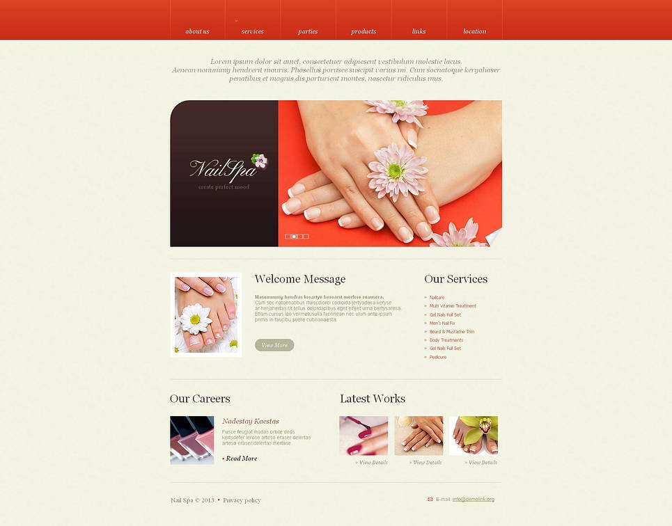 Nail Salon Website Template with Red Header - image