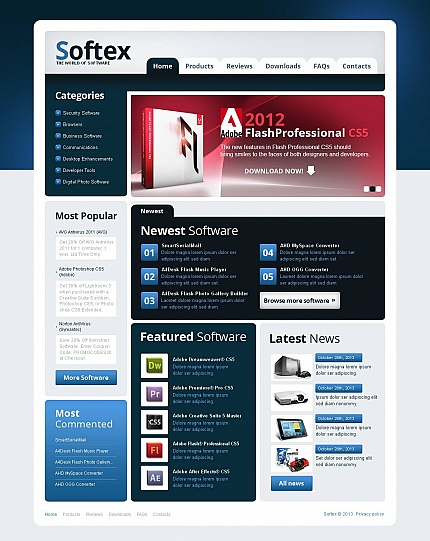 ADOBE Photoshop Template 47185 Home Page Screenshot