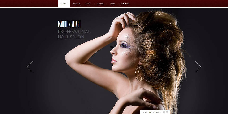 Hair Salon Web Template with Background Photos - image
