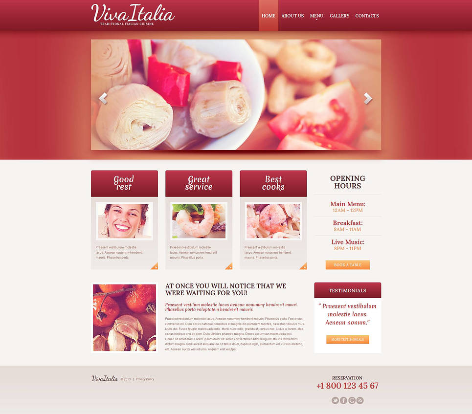 Italian Cuisine Website Template with jQuery Slider - image