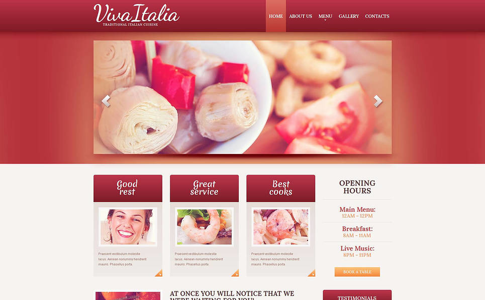 Plantilla Moto CMS HTML #47190 para Sitio de Restaurante italiano New Screenshots BIG