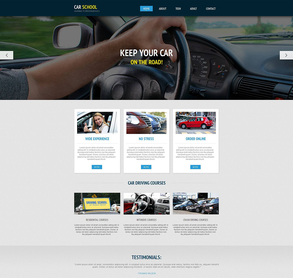 Driving School Website Template with Large Photo Slider - image