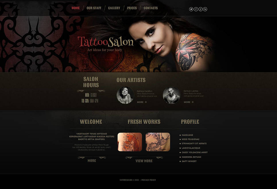 Tattoo Website Template with Header Image - image
