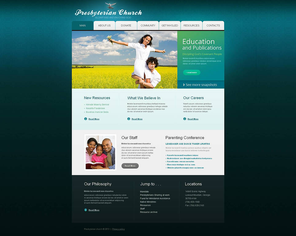 Blue-Green Website Template for Religious Organizations - image