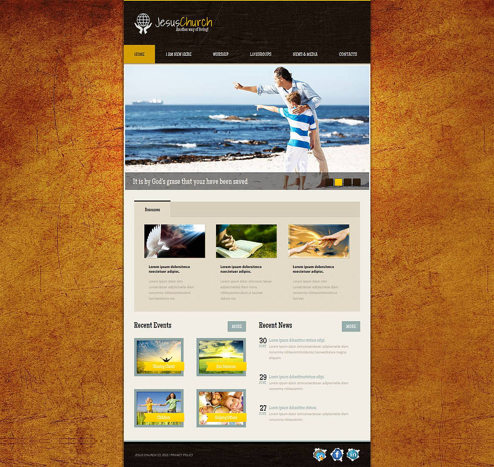 Church Website Template with Orange Texture Background - image