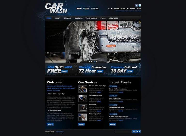 Car Wash Flash CMS Template New Screenshots BIG