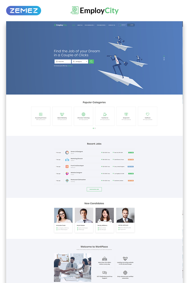 EmployCity - Job Portal Multipage HTML5 Website Template - screenshot