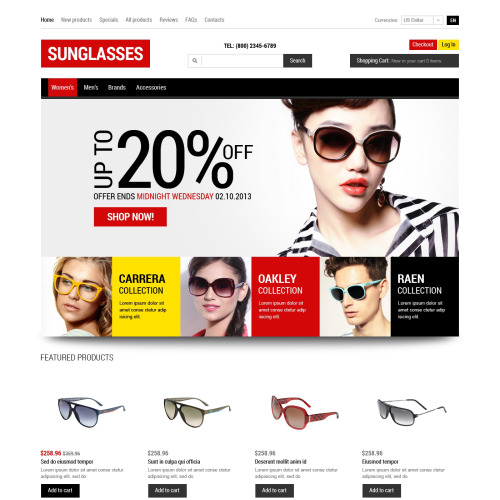 Sun Glasses - HTML5 ZenCart Template