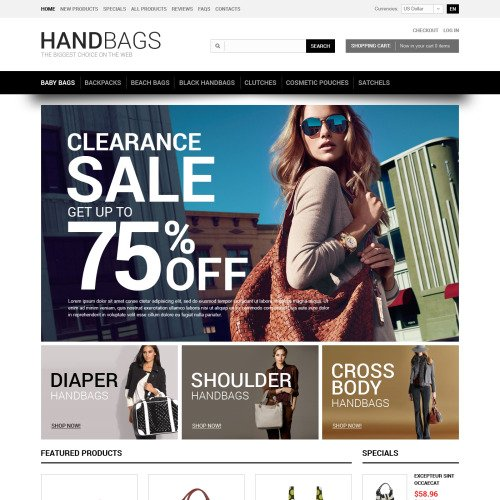 Handbags - HTML5 ZenCart Template