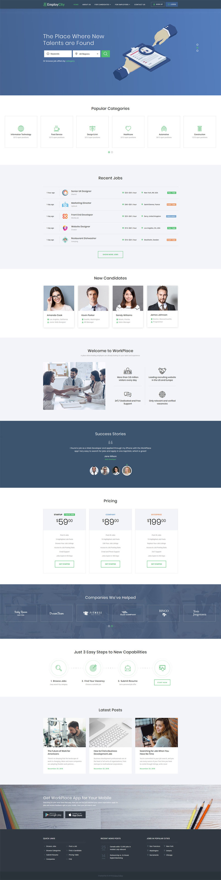 Job Portal Responsive Website Template New Screenshots BIG