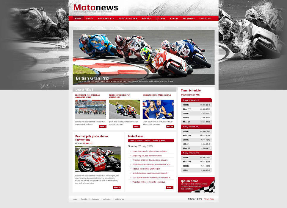 Motor Sports Moto CMS HTML Template New Screenshots BIG