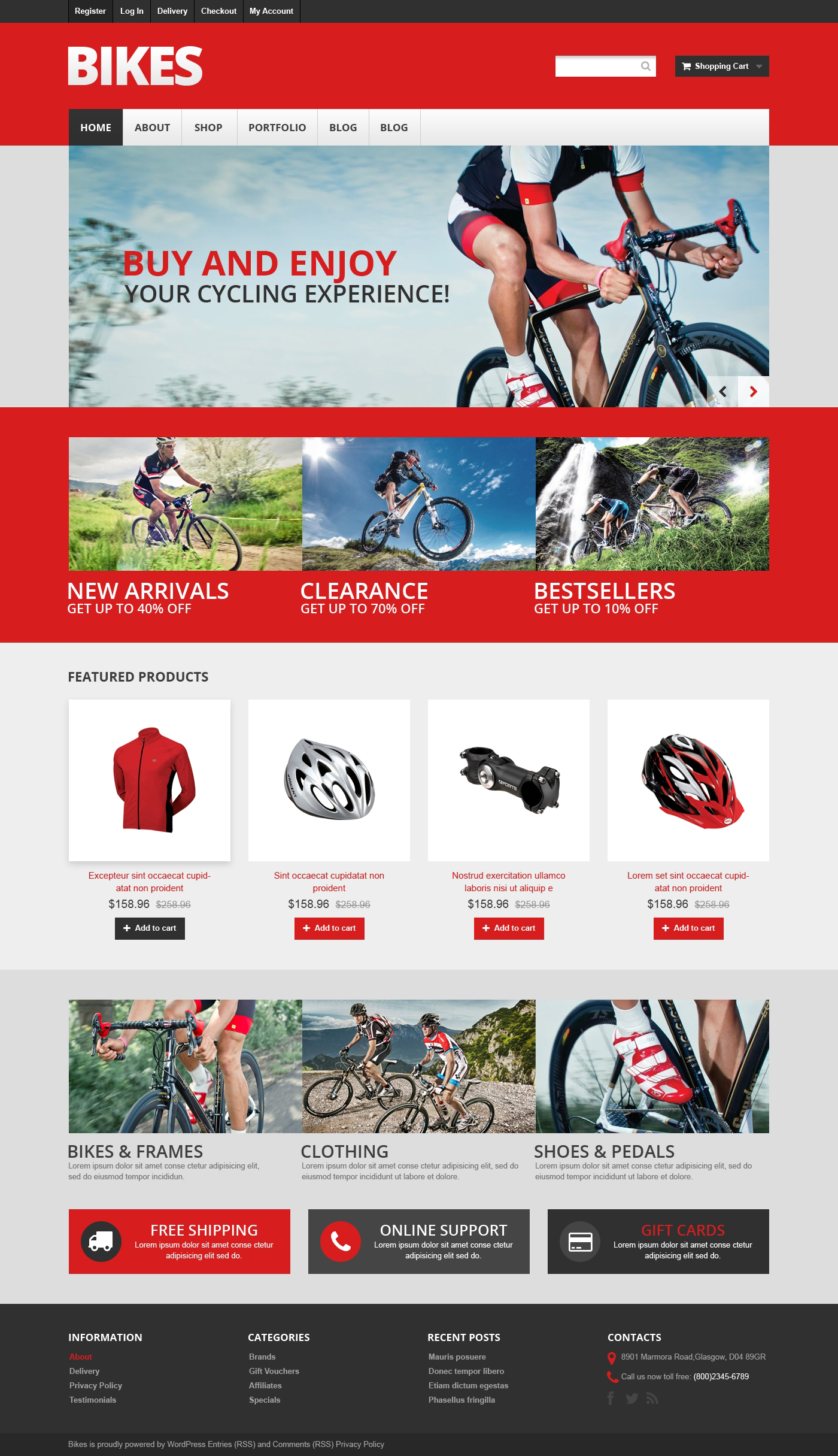 Mountain Bikes WooCommerce Theme - screenshot