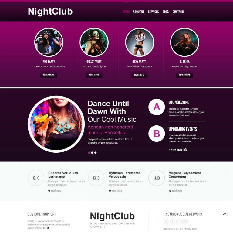 Night Club Responsive Joomla Template New Screenshots BIG