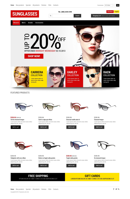 Plantilla ZenCart #47166 para Sitio de Gafas