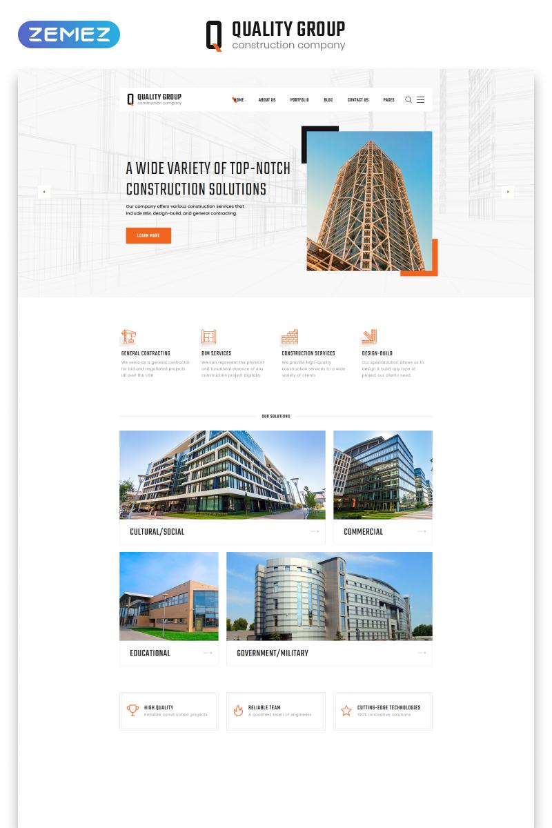 """""""Quality Group - Construction Company Clean Multipage HTML5"""" - адаптивний Шаблон сайту №47125"""