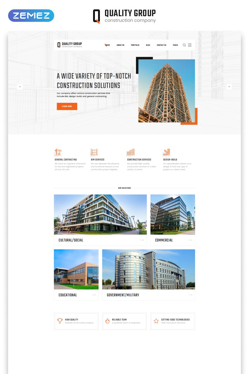 """""""Quality Group - Construction Company Clean Multipage HTML5"""" 响应式网页模板 #47125"""