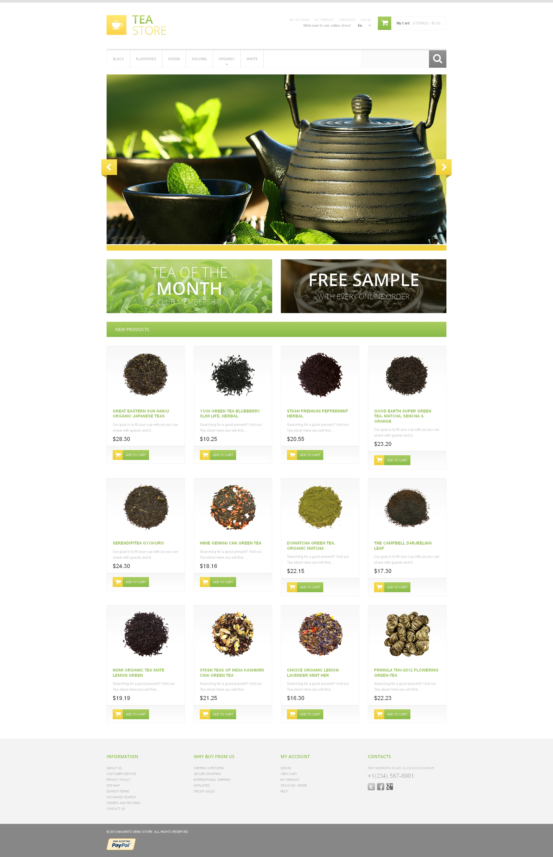 Reszponzív Bracing Tea Store Magento sablon 47181