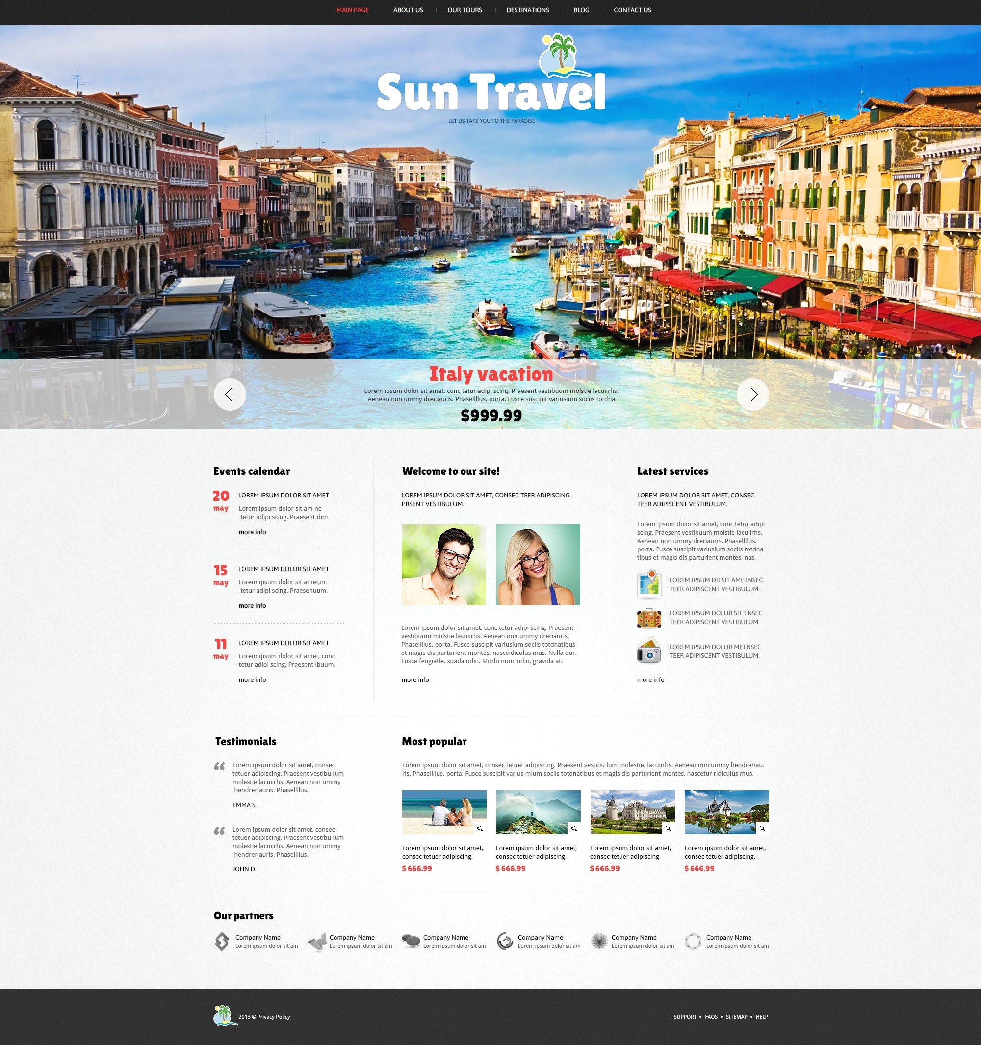 Reszponzív Utazási iroda témakörű Joomla sablon 47113 - képernyőkép