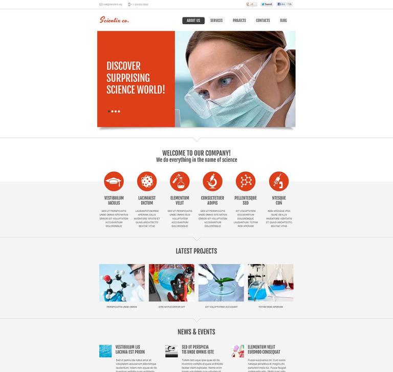Science Lab Flash CMS Template New Screenshots BIG