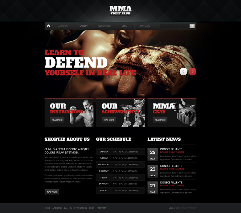 Shocking Martial Arts Drupal Template New Screenshots BIG