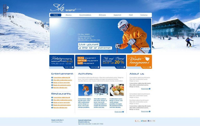 Skiing Flash CMS Template New Screenshots BIG