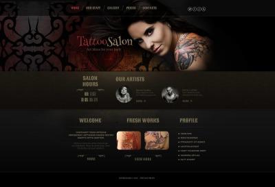 Szablon Moto CMS HTML #47194 na temat: studio tatuażu