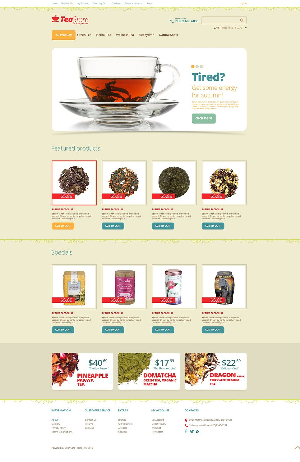 Tea for Your Pleasure OpenCart Template New Screenshots BIG