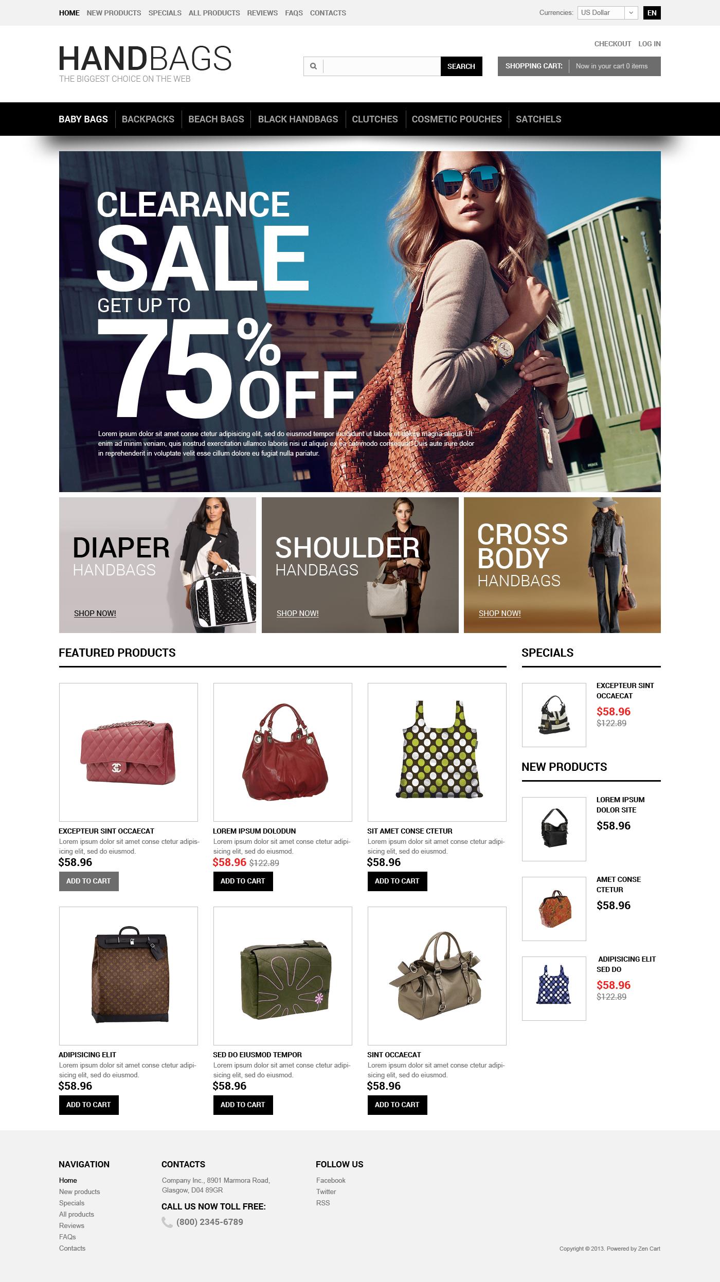 Thème Zen Cart pour magasin de sacs à main #47167