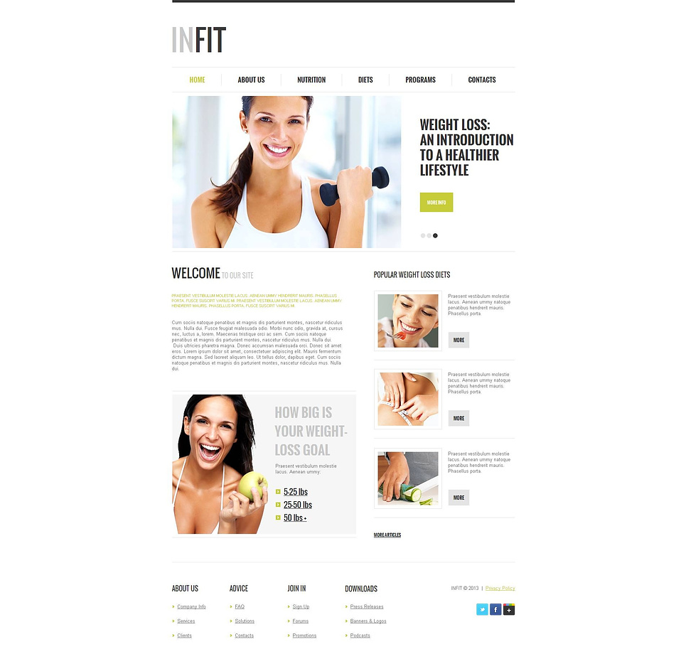 Healthy Lifestyle Website Template with White Background - image
