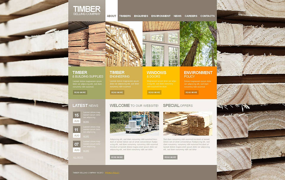 Timber Selling Website Template with Wood Logs on the Background - image