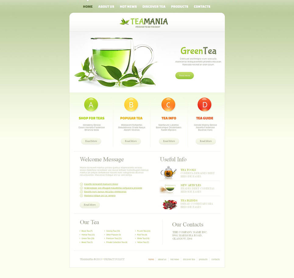 Tea Website Template Done in Saturated Colors - image