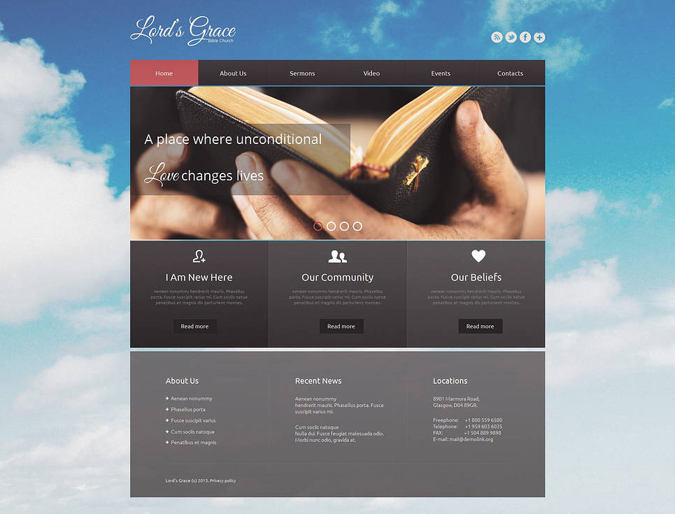 Religious Website Template with Sky Background Image - image