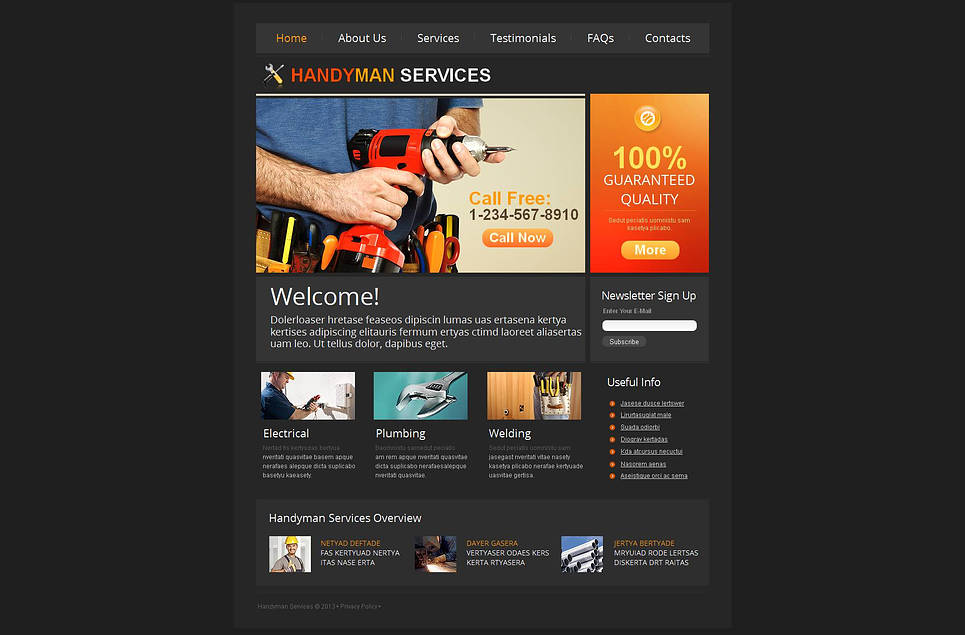 Handyman Services Website Template Designed in Black Color - image