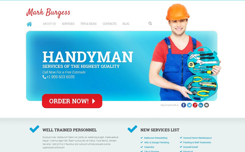 Responsives WordPress Theme für Wartungsservice  New Screenshots BIG