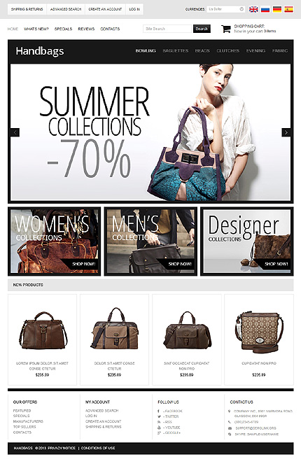 osCommerce Template 47296 Main Page Screenshot