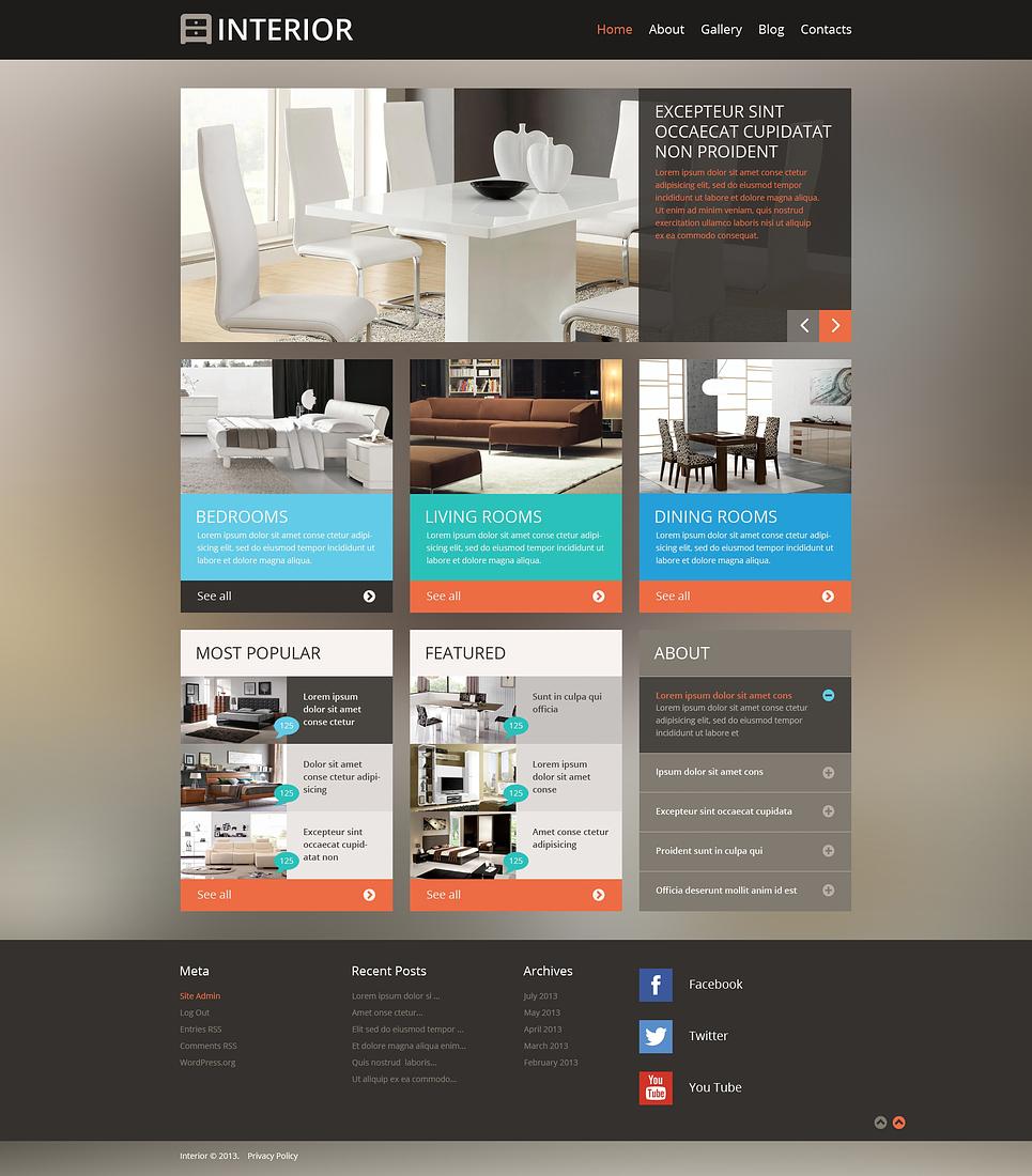 Адаптивный шаблон сайта на тему дизайн интерьеров #47224