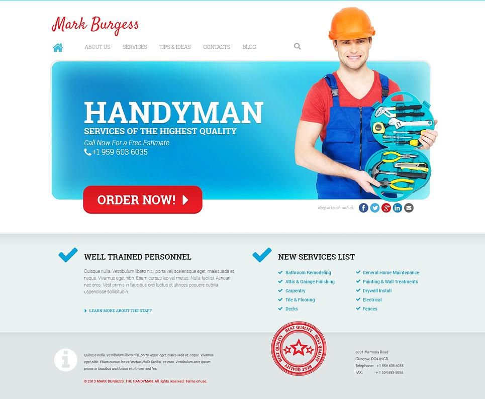 Адаптивный шаблон сайта на тему техническое обслуживание #47230