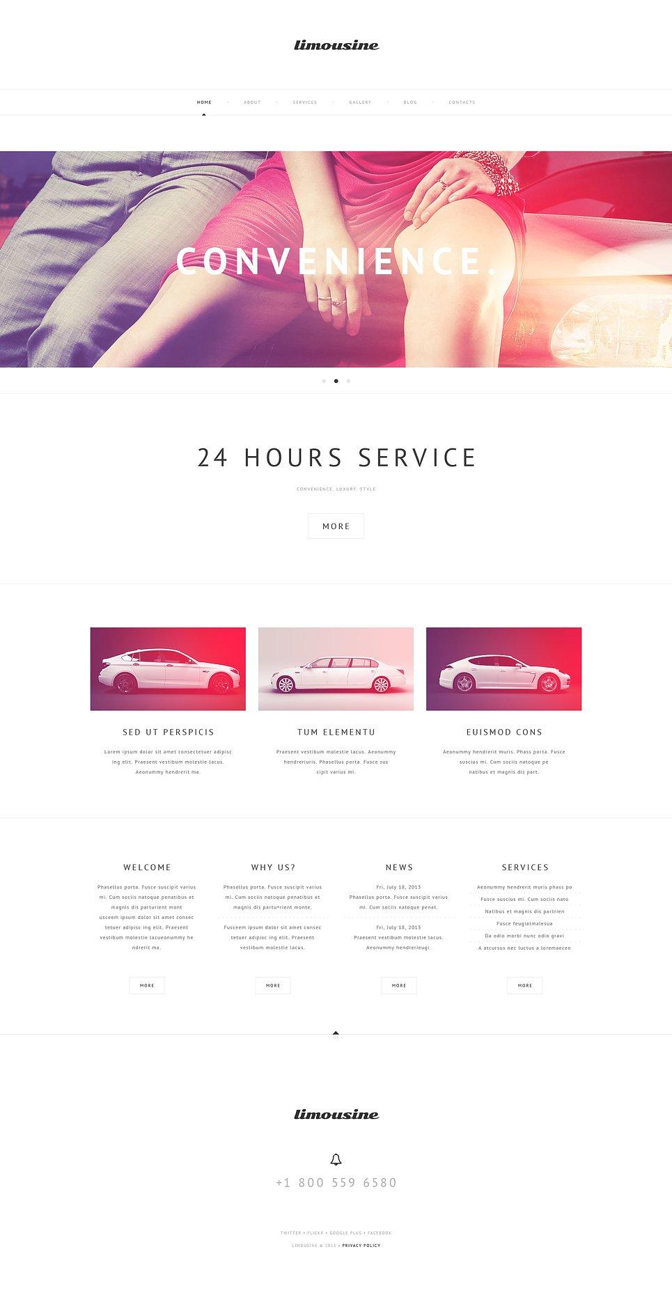 Адаптивный шаблон сайта на тему прокат лимузинов #47232