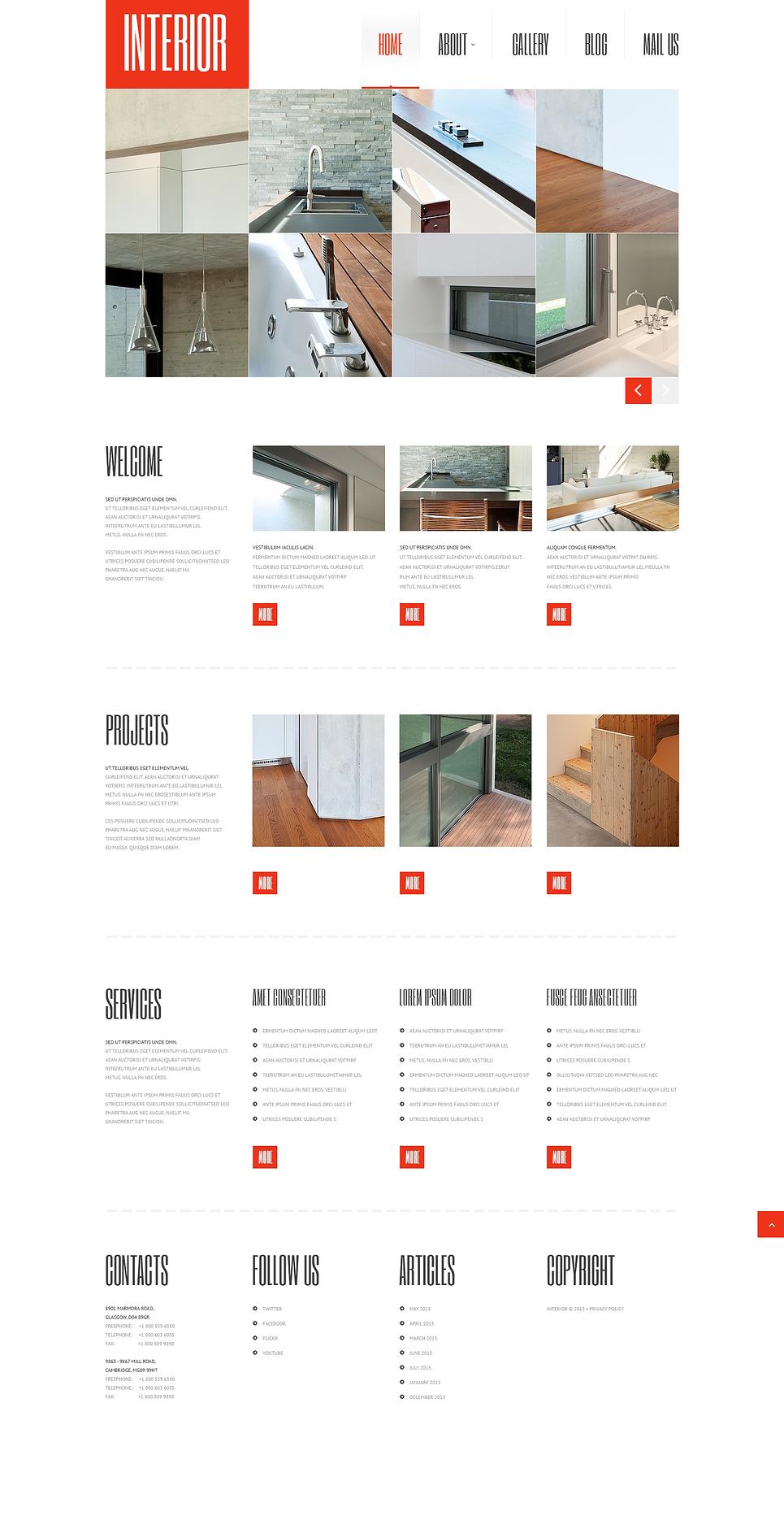 Адаптивный шаблон сайта на тему дизайн интерьеров #47236