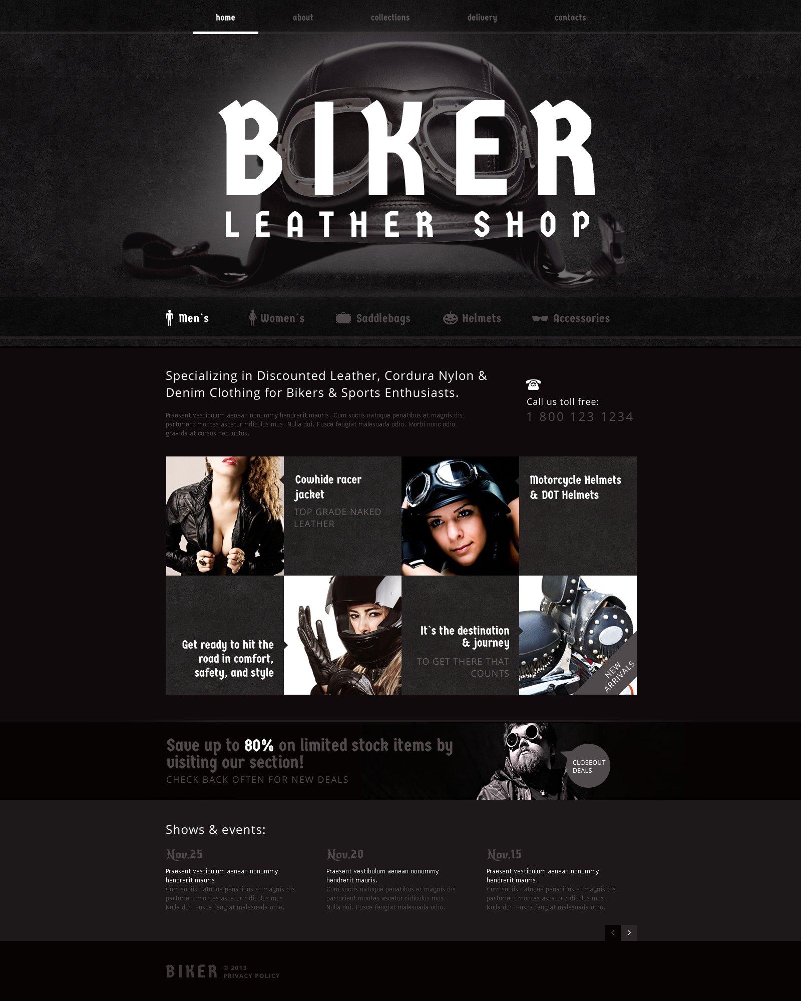 bike shop responsive website template 47273. Black Bedroom Furniture Sets. Home Design Ideas