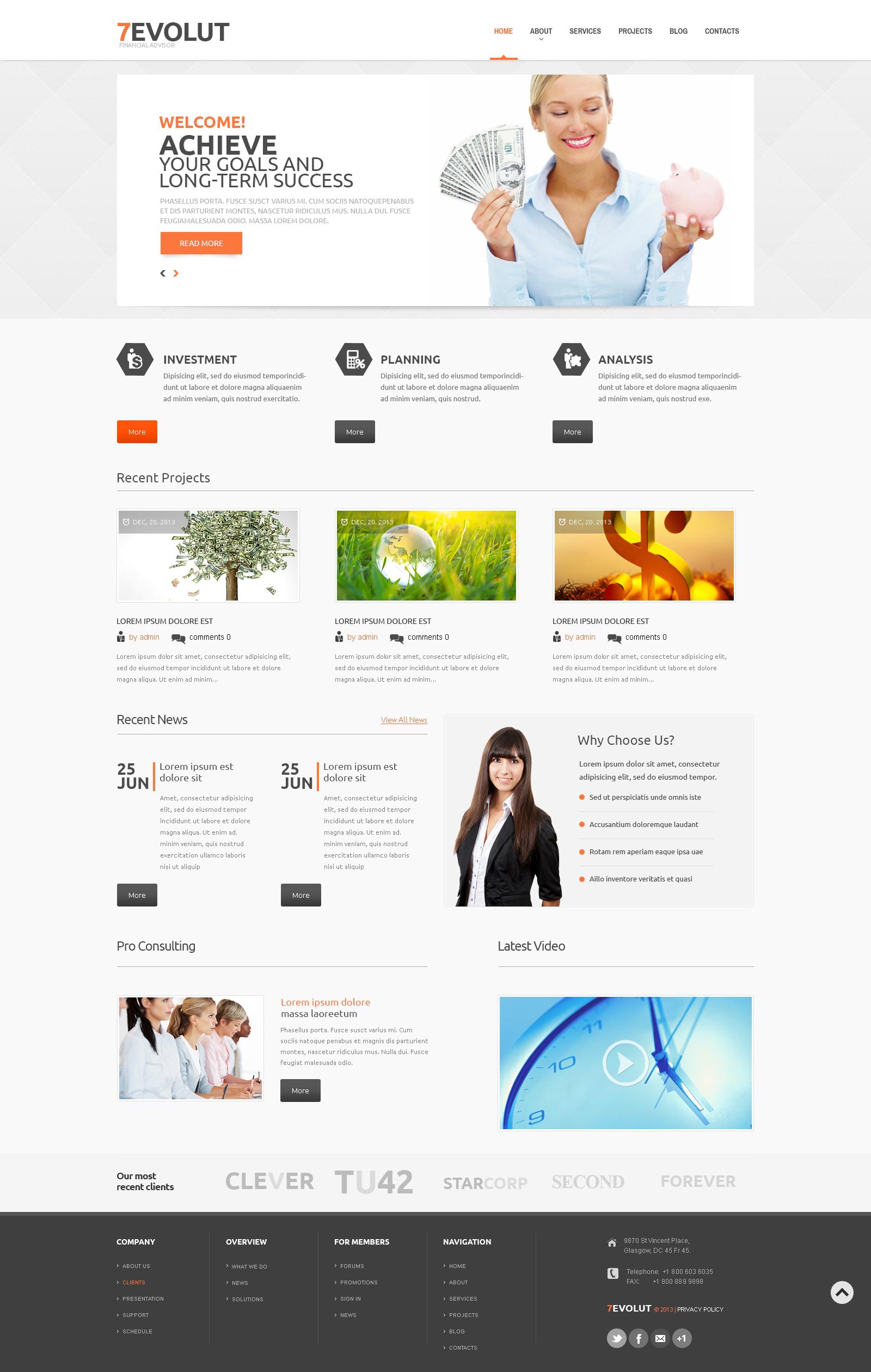 Financial Advisor Responsive WordPress Theme - screenshot