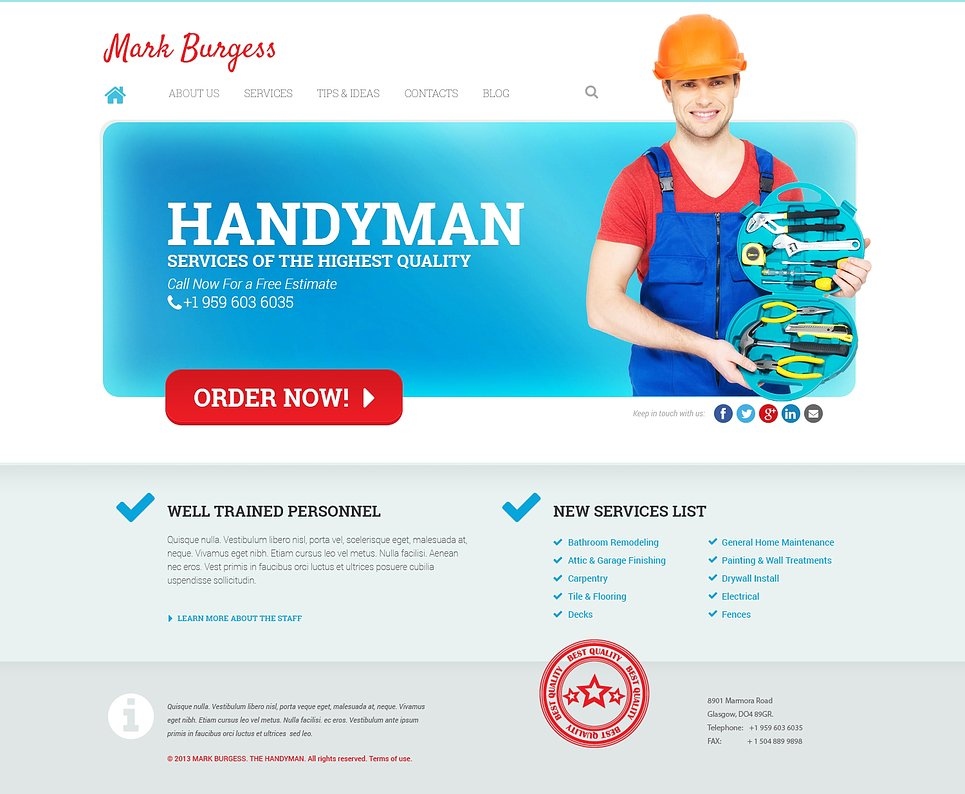 Maintenance Services Responsive WordPress Theme