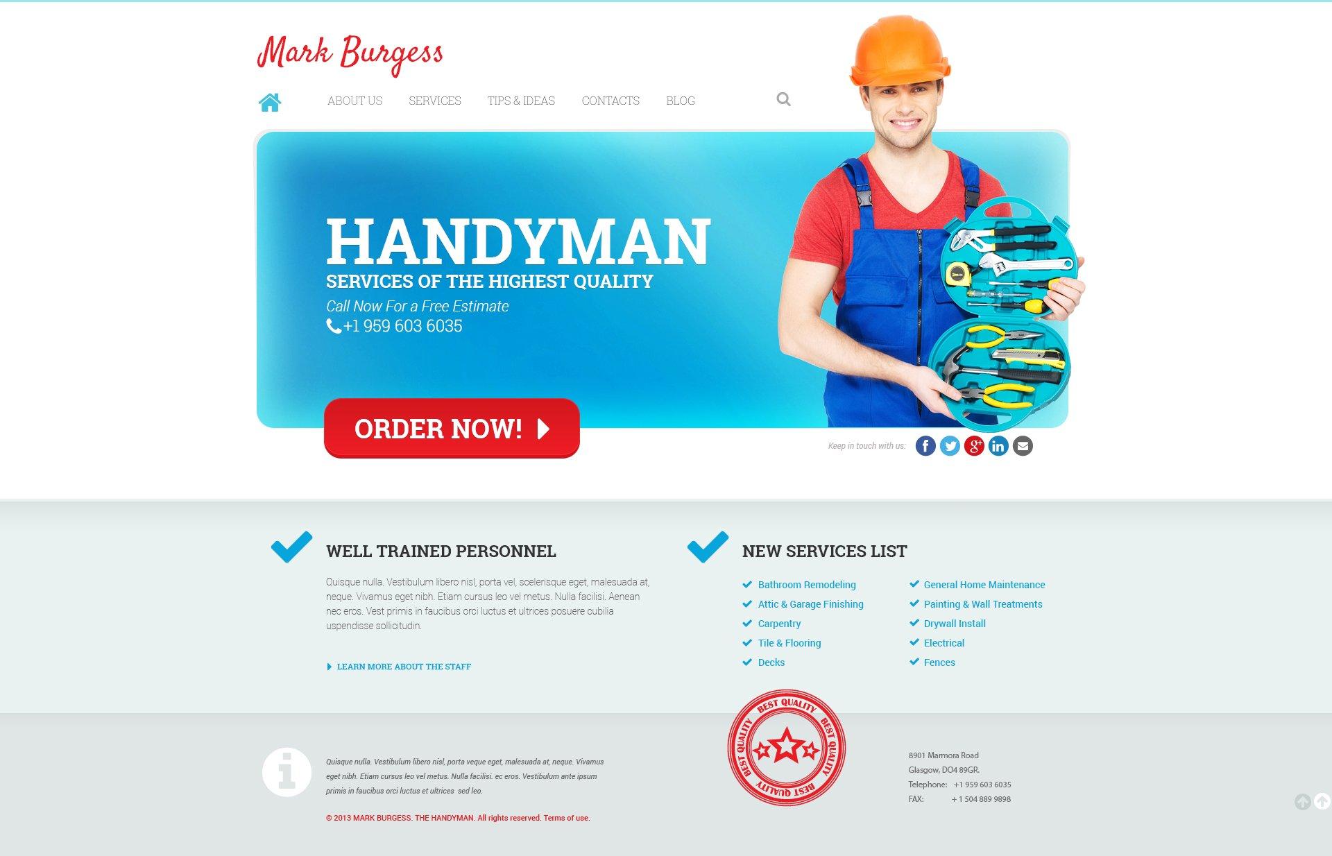 Maintenance Services Responsive Wordpress Theme 47230