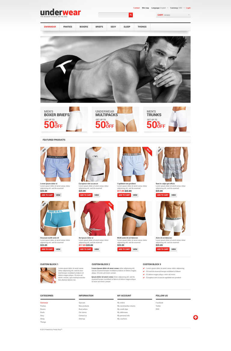 Men's Underwear PrestaShop Theme New Screenshots BIG