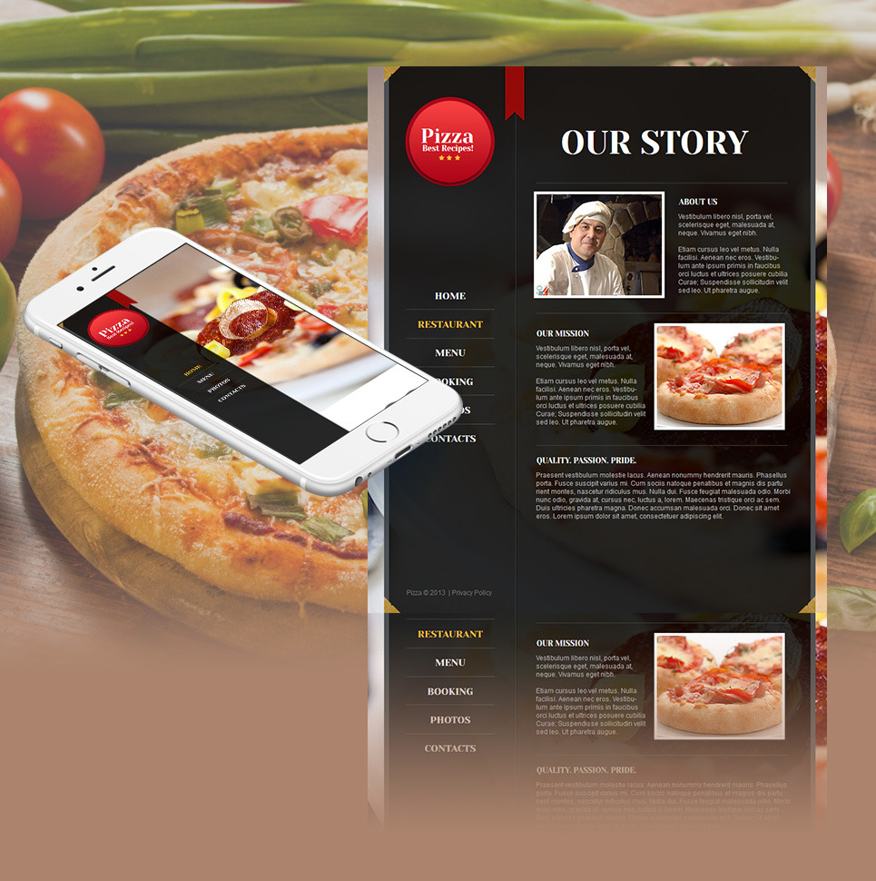 Pizza Moto CMS HTML Template New Screenshots BIG