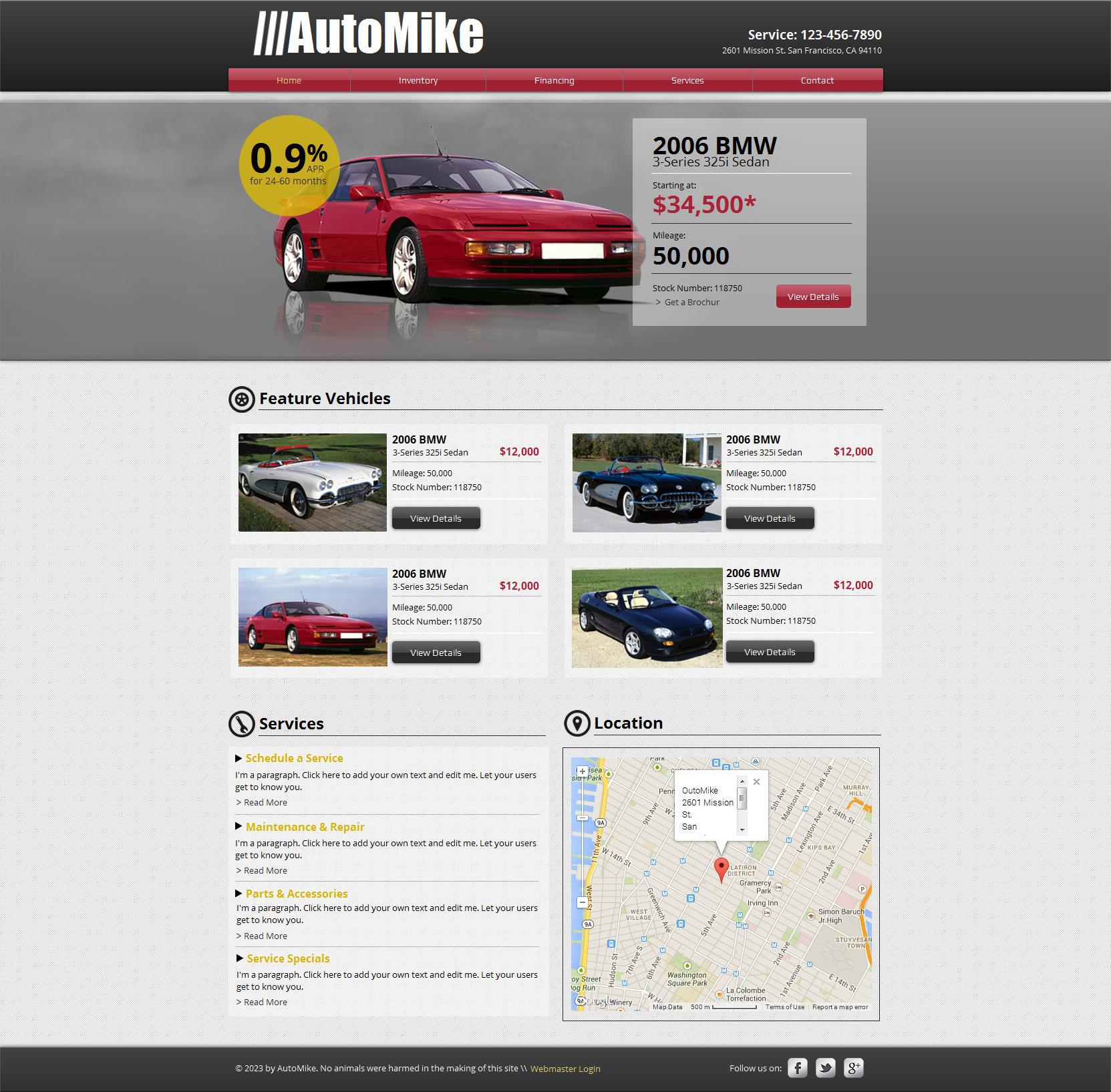 Plantilla Wix #47293 para Sitio de Alquiler de coches