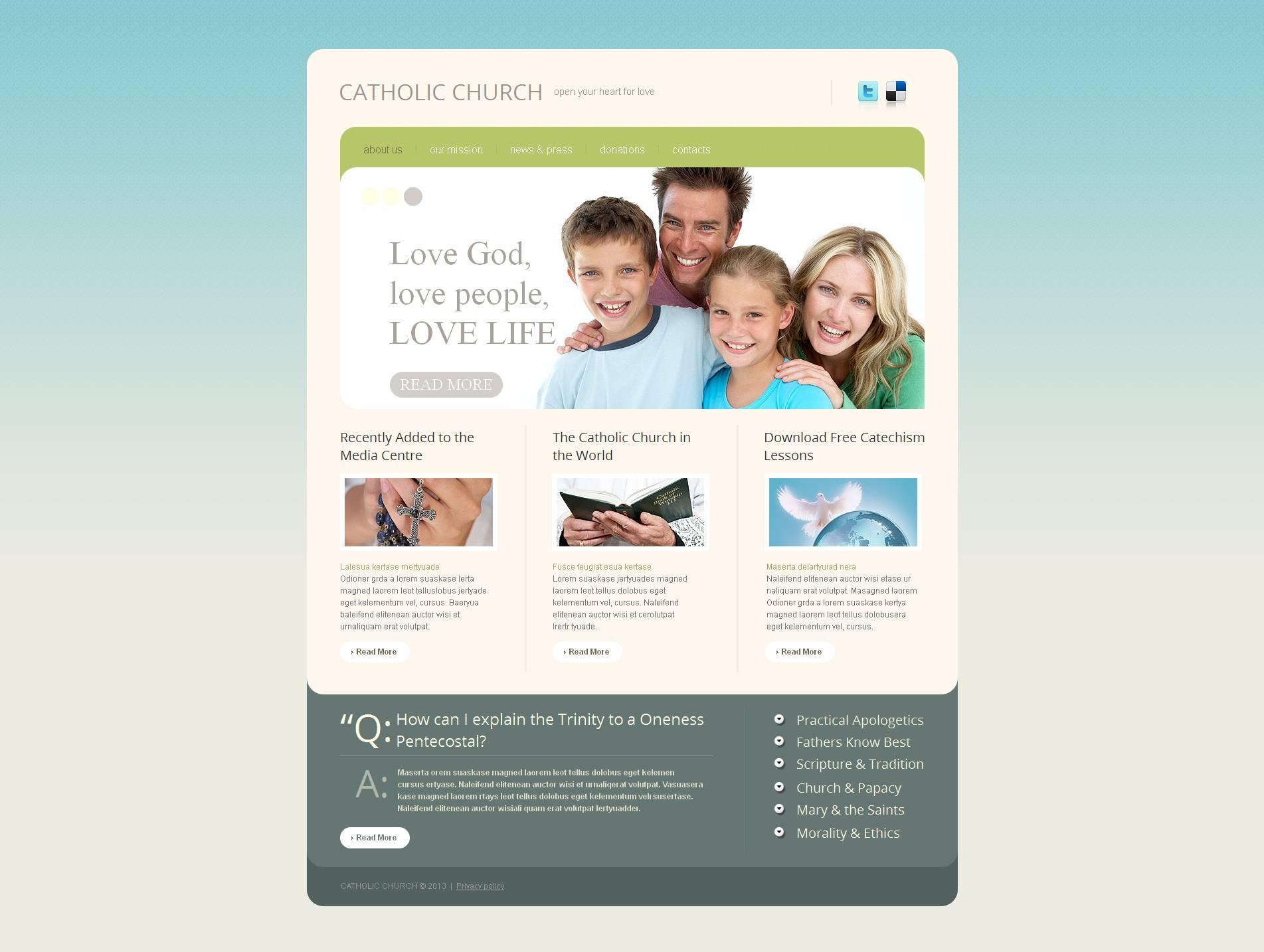 Prémium Katolikus egyház témakörű Moto CMS HTML sablon 47222
