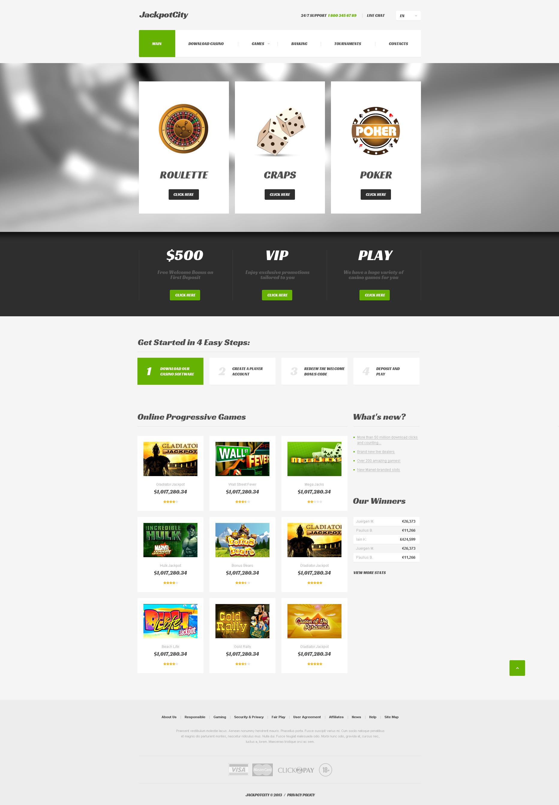 Reszponzív Online kaszinók Weboldal sablon 47281 - képernyőkép