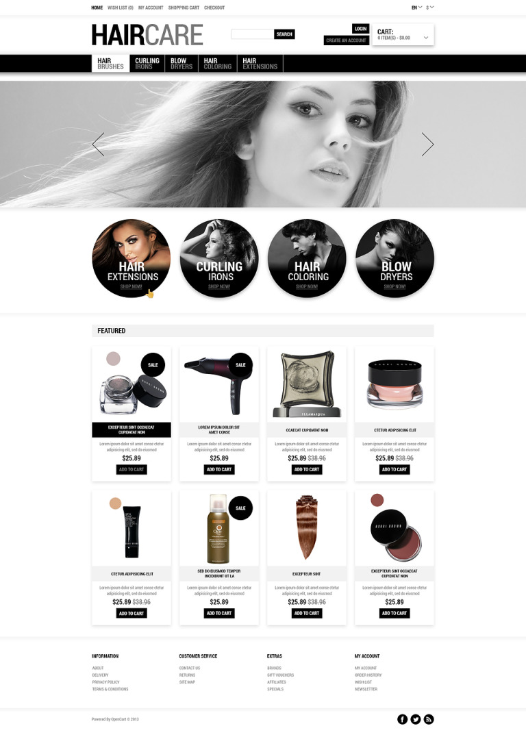Tender Care for Your Hair OpenCart Template New Screenshots BIG